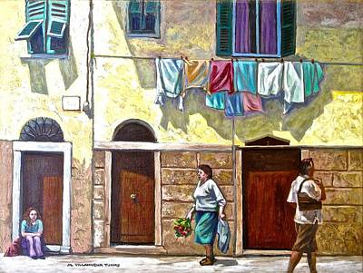 Passers By, Cinque Terre Poster by Mary Villanueva-Tuomy