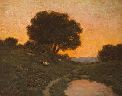 Pastoral Scene At Sunset  Poster by Granville Redmond