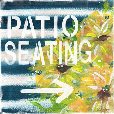 Patio Seating- By Linda Woods Poster by Linda Woods