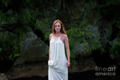 Patty Holding White Dress Out Of Water Poster by Dan Friend