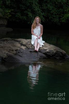 Patty Sitting On Rock In Lake Poster by Dan Friend