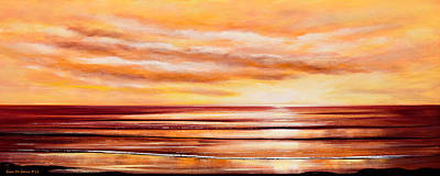 Peacefully Yours - Panoramic Sunset Poster by Gina De Gorna