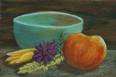 Peach And Pottery Poster by Cheryl Albert
