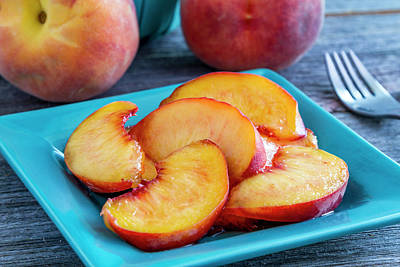 Peaches For Lunch Poster by Teri Virbickis