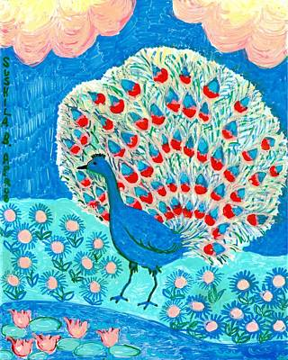 Peacock And Lily Pond Poster by Sushila Burgess