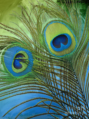 Peacock Candy Blue And Green Poster by Mindy Sommers