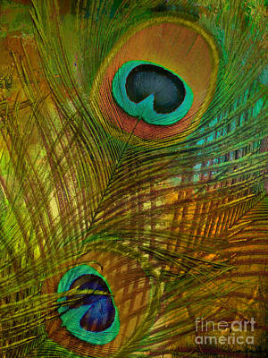 Peacock Candy Green And Gold Poster by Mindy Sommers