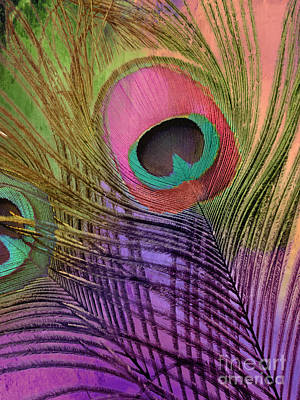 Peacock Candy Pink Green Coral Poster by Mindy Sommers