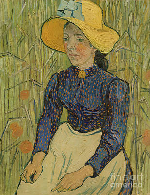 Peasant Girl In Straw Hat Poster by Vincent van Gogh