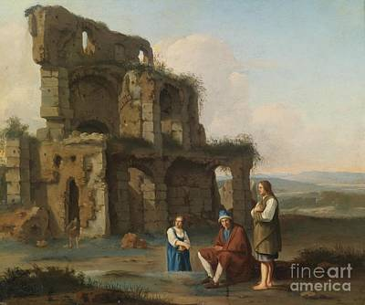 Peasants Before Roman Ruins Poster by MotionAge Designs