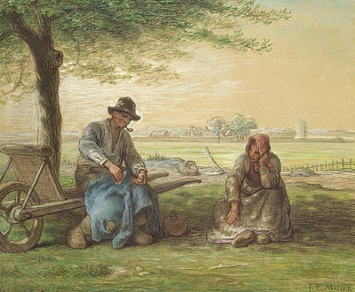 Peasants Resting Poster by Jean-Francois Millet