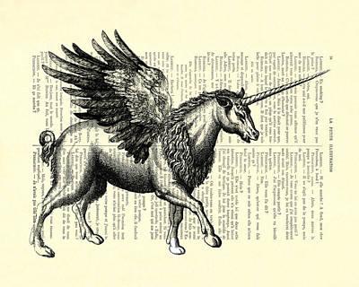 Pegasus Black And White Poster by Madame Memento