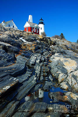 Pemaquid Point Lighthouse Reflection - Seascape Landscape Rocky Coast Maine Poster by Jon Holiday