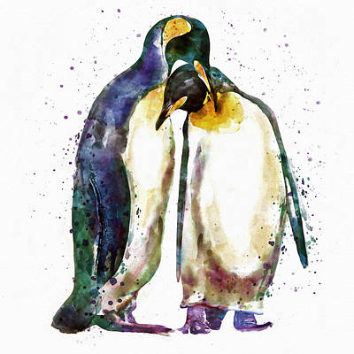 Penguin Couple Poster by Marian Voicu