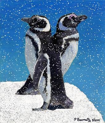 Penguins In The Snow Poster by Patricia Barmatz