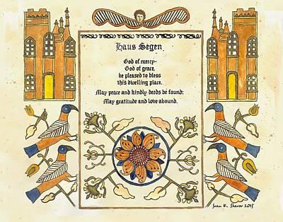Pennsylvania German Haus Segen Poster by Joan Shaver