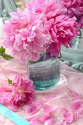 Peonies In Mason Jar - Summer Garden Peonies Ball Jar - Romantic Peonies Aqua Pink Decor Poster by Kathy Fornal