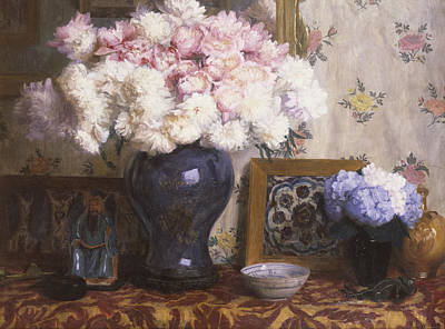 Peonies Poster by Mary E Wheeler
