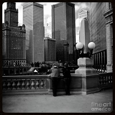 People And Skyscrapers - Square Poster by Frank J Casella