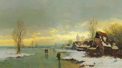 People Walking On A Frozen River  Poster by Johann II Jungblut