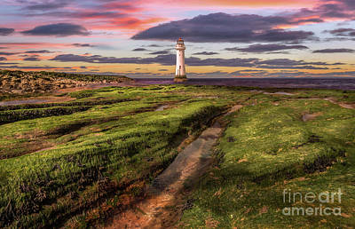 Perch Rock Lighthouse Sunset Poster by Adrian Evans