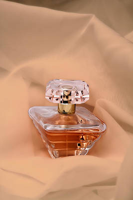 Perfume Bottle Still Life IIi In Peach Poster by Tom Mc Nemar