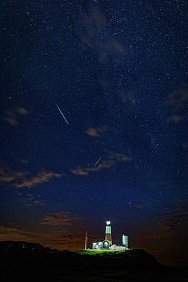 Perseids Over Montauk Point Poster by Rick Berk