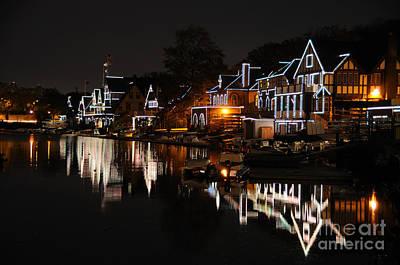 Philadelphia Boathouse Row At Night Poster by Gary Whitton