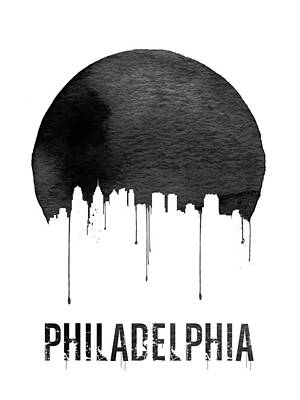Philadelphia Skyline White Poster by Naxart Studio