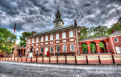 Philadelphia's Independence Hall Under The Clouds Poster by Mark Ayzenberg