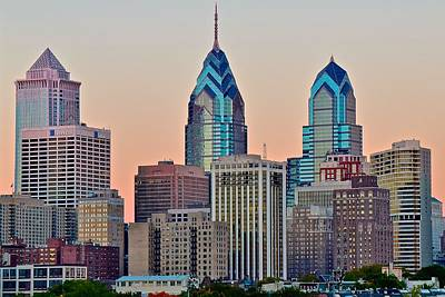 Philly At Sunset Poster by Frozen in Time Fine Art Photography