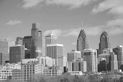 Philly Skyscrapers Black And White Poster by Jennifer Ancker