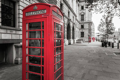 Phone Booths In London Poster by James Udall