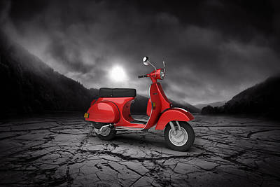 Piaggio Vespa P125x 1978  Mountains Poster by Aged Pixel