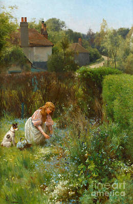 Picking Wild Flowers In The Hedgerow Poster by Alfred Glendening Jr