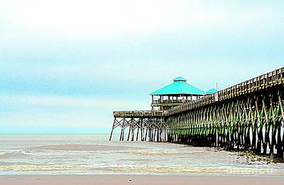 Pier At Folly Beach Poster by Kathleen Struckle