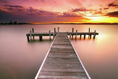 Pier In Lake Macquarie At Sunset, Australia Poster by Yury Prokopenko