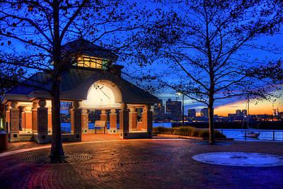 Piers Park Sunset With Gazebo - East Boston Poster by Joann Vitali