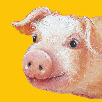 Pig Painting On Yellow Background Poster by Jan Matson