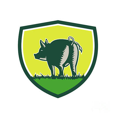 Pig Tail Rear Crest Woodcut Poster by Aloysius Patrimonio