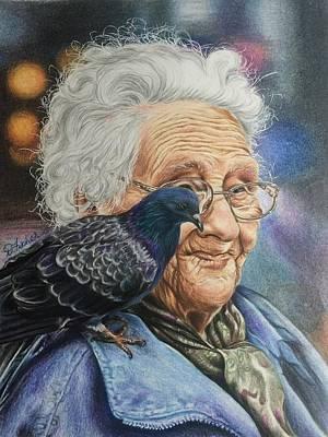 Pigeon Lady Poster by Debbie Fischer