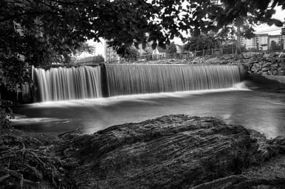 Pigeon River At Old Mill In Black And White Poster by Greg Mimbs
