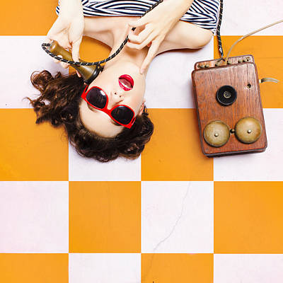 Pin-up Beauty Decision Making On Old Phone Poster by Jorgo Photography - Wall Art Gallery