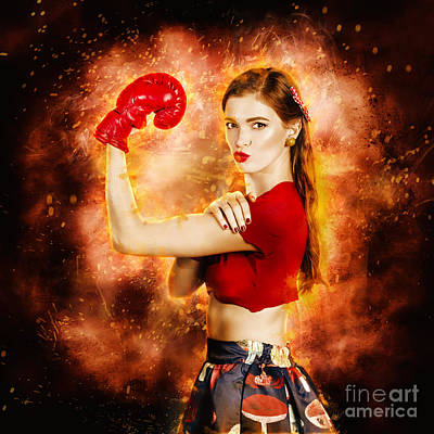 Pin Up Boxing Girl  Poster by Jorgo Photography - Wall Art Gallery