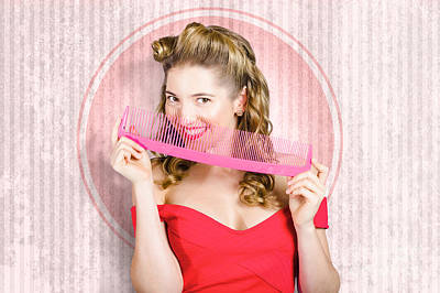 Pin Up Hairdresser Woman With Hair Salon Brush Poster by Jorgo Photography - Wall Art Gallery