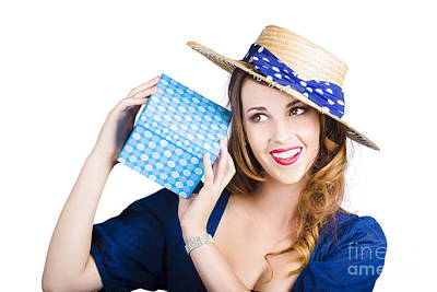Pin Up Woman With Blue Polkadot Gift Poster by Jorgo Photography - Wall Art Gallery