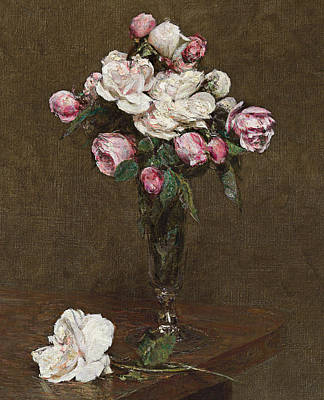 Pink And White Roses In A Champagne Flute Poster by Ignace Henri Jean Fantin-Latour
