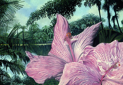 Pink Hibiscus Poster by Stephen Mack