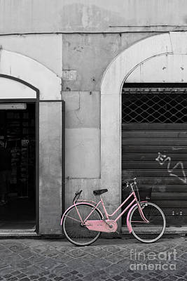 Pink Italian Bike Poster by Edward Fielding