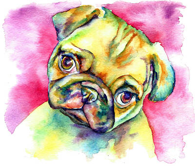 Pink Pug Poster by Christy  Freeman